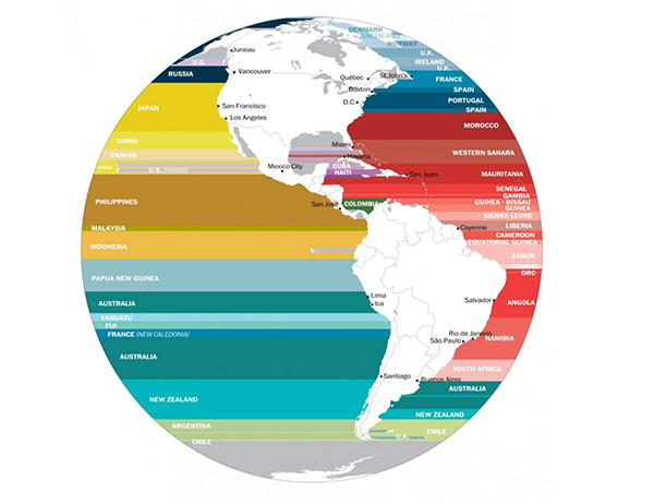 289 What's across the ocean from you when you're at the beach, in 7 fascinating maps small