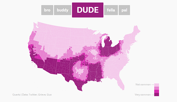74 The dude map - How Americans refer to their bros small
